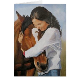Bridget e seu cartão da arte do cavalo do