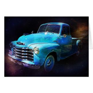 Brilha - o caminhão azul do vintage cartão comemorativo
