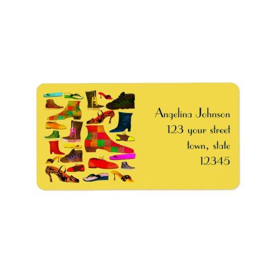 Brilhante colorido dos desenhos animados bonitos etiqueta de endereço