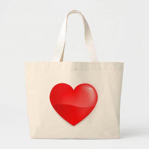 Brilhante do vermelho de Coração Bolsas Para Compras