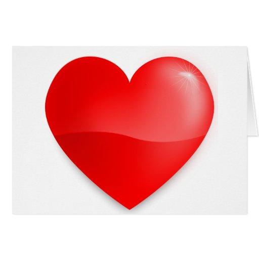 Brilhante do vermelho de Coração Cartão