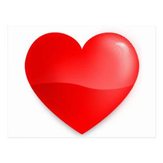Brilhante do vermelho de Coração Cartão Postal