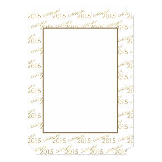 Brilho 2015 do ouro de ano novo no branco convite 12.7 x 17.78cm
