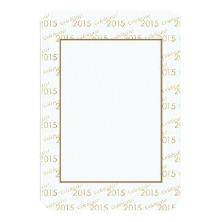 Brilho 2015 do ouro de ano novo no branco convite 8.89 x 12.7cm