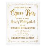 Brilho aberto do ouro do sinal do casamento do impressão de foto