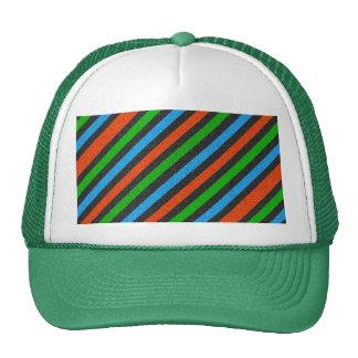 Brilho alaranjado, azul, verde, preto listrado boné
