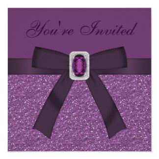 Brilho & ametista & diamante impressos roxo Bling Convite Personalizado