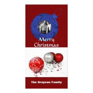 Brilho azul branco vermelho da foto do Feliz Natal Cartão