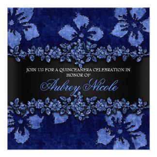 Brilho azul do falso & veludo Quinceanera floral Convites Personalizados
