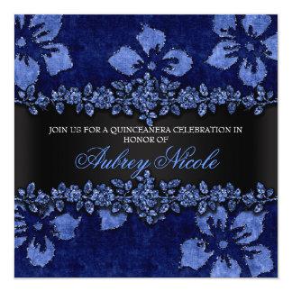 Brilho azul do falso & veludo Quinceanera floral Convite Quadrado 13.35 X 13.35cm