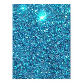 Brilho azul extravagante do brilho convite 10.79 x 13.97cm