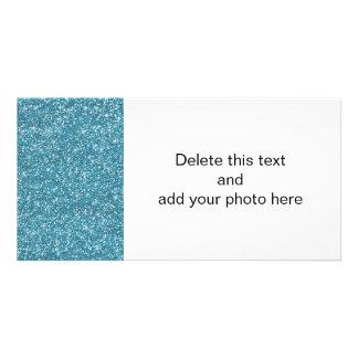 Brilho azul impresso cartão com foto