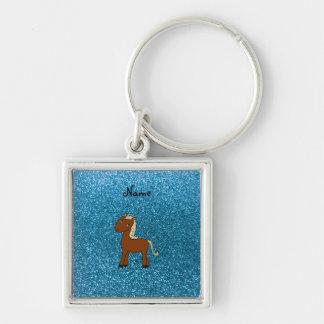 Brilho azul personalizado do cavalo conhecido chaveiro quadrado na cor prata