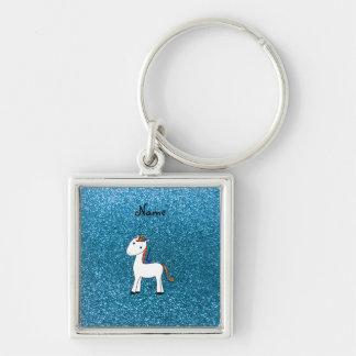 Brilho azul personalizado do unicórnio conhecido chaveiro quadrado na cor prata