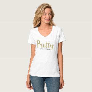 Brilho bonito do ouro e V-Pescoço preto Camiseta