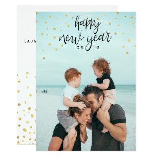 Brilho chique festivo do ouro da foto do feliz ano convite 12.7 x 17.78cm