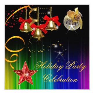Brilho colorido da festa de Natal do feriado Convite Quadrado 13.35 X 13.35cm
