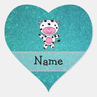 Brilho conhecido personalizado de turquesa da vaca adesivo coração