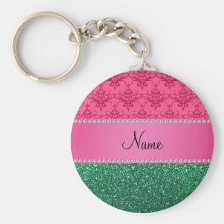 Brilho cor-de-rosa conhecido personalizado do verd chaveiro