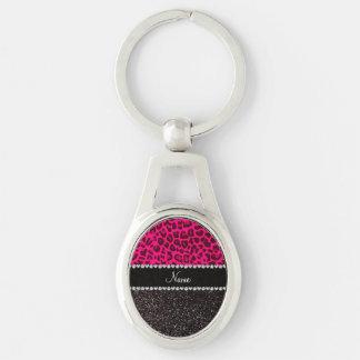 Brilho cor-de-rosa de néon conhecido personalizado chaveiro oval cor prata