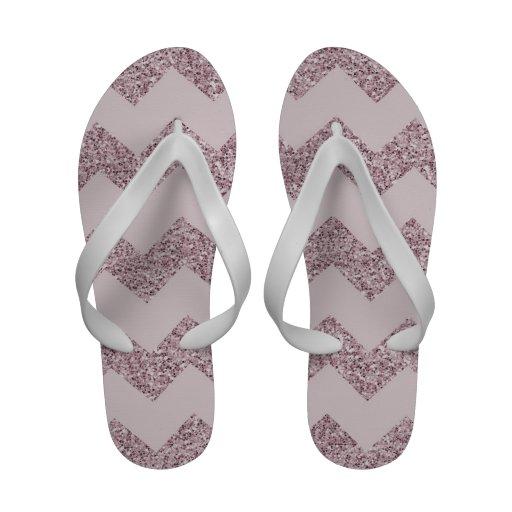 Brilho cor-de-rosa do falso de Chevron Flip-flops