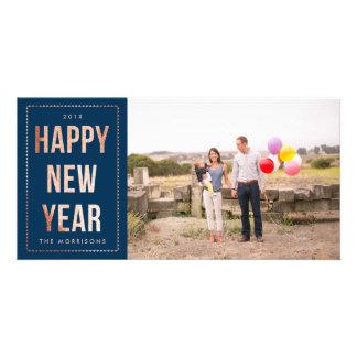 Brilho cor-de-rosa do falso do feliz ano novo do cartão com foto
