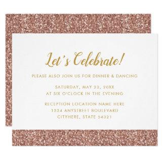 Brilho cor-de-rosa do ouro & cartão da recepção do