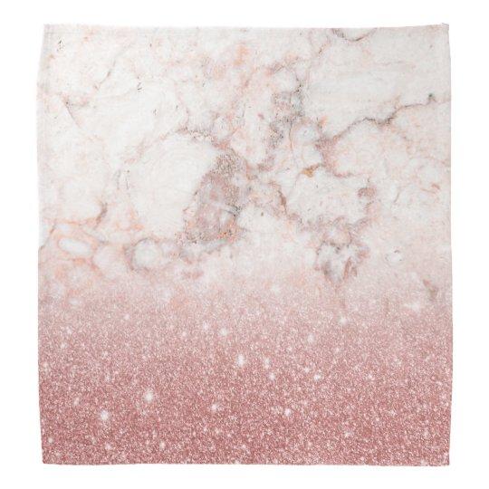 Brilho cor-de-rosa Ombre de mármore branco do ouro Bandana