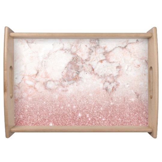 Brilho cor-de-rosa Ombre de mármore branco do ouro Bandeja De Alimentos