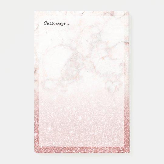 Brilho cor-de-rosa Ombre de mármore branco do ouro Bloquinho De Notas