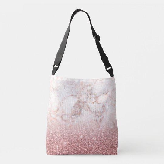 Brilho cor-de-rosa Ombre de mármore branco do ouro Bolsa Ajustável