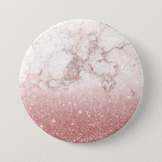 Brilho cor-de-rosa Ombre de mármore branco do ouro Bóton Redondo 7.62cm