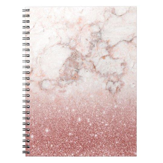 Brilho cor-de-rosa Ombre de mármore branco do ouro Caderno