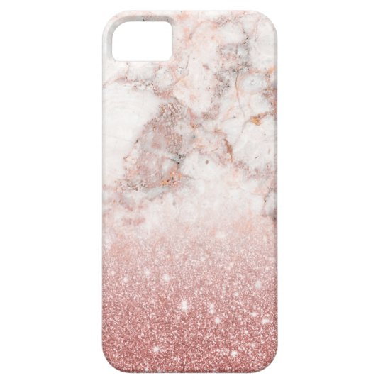 Brilho cor-de-rosa Ombre de mármore branco do ouro Capa Barely There Para iPhone 5