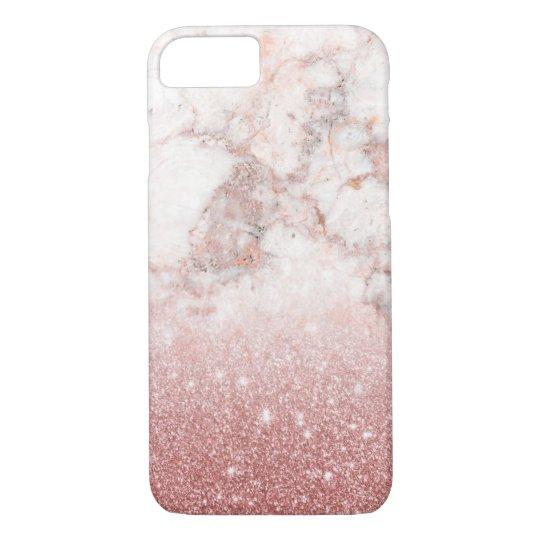 Brilho cor-de-rosa Ombre de mármore branco do ouro Capa iPhone 7