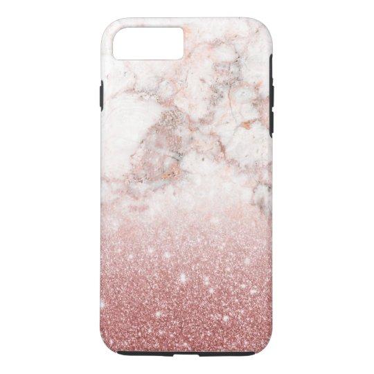 Brilho cor-de-rosa Ombre de mármore branco do ouro Capa iPhone 7 Plus