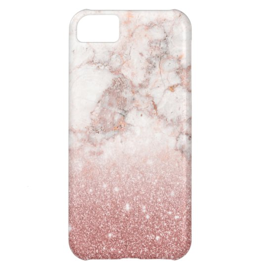 Brilho cor-de-rosa Ombre de mármore branco do ouro Capa Para iPhone 5C