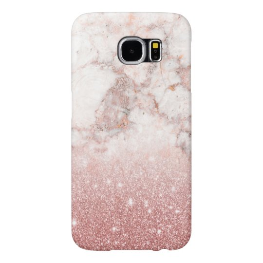 Brilho cor-de-rosa Ombre de mármore branco do ouro Capa Para Samsung Galaxy S6