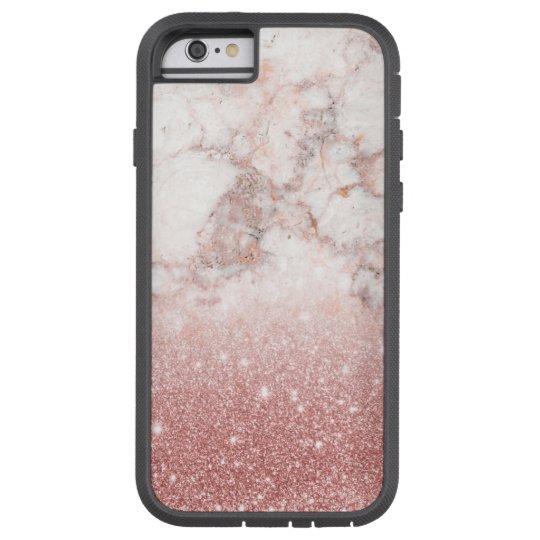 Brilho cor-de-rosa Ombre de mármore branco do ouro Capa Tough Xtreme Para iPhone 6
