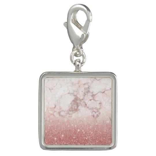 Brilho cor-de-rosa Ombre de mármore branco do ouro Charm Com Foto
