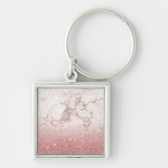 Brilho cor-de-rosa Ombre de mármore branco do ouro Chaveiro Quadrado Na Cor Prata