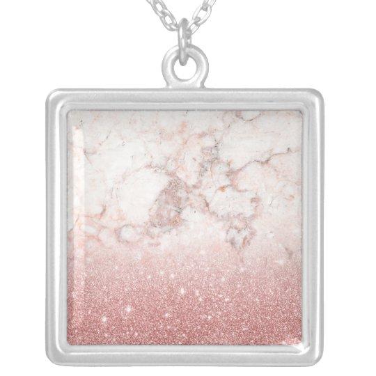 Brilho cor-de-rosa Ombre de mármore branco do ouro Colar Banhado A Prata