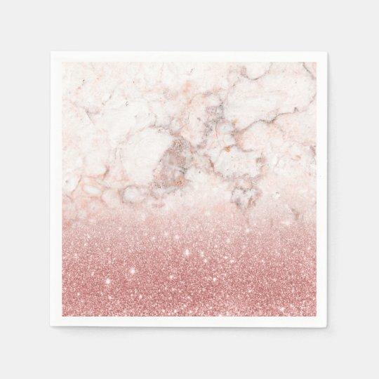 Brilho cor-de-rosa Ombre de mármore branco do ouro Guardanapo De Papel