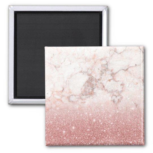 Brilho cor-de-rosa Ombre de mármore branco do ouro Ímã Quadrado