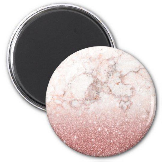 Brilho cor-de-rosa Ombre de mármore branco do ouro Ímã Redondo 5.08cm