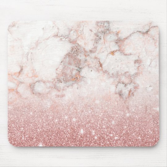 Brilho cor-de-rosa Ombre de mármore branco do ouro Mouse Pad
