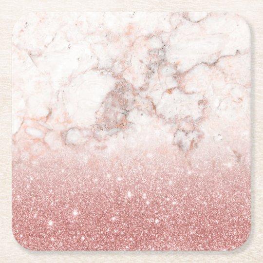 Brilho cor-de-rosa Ombre de mármore branco do ouro Porta-copo De Papel Quadrado