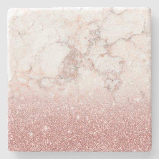 Brilho cor-de-rosa Ombre de mármore branco do ouro Porta-copo De Pedra