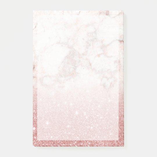 Brilho cor-de-rosa Ombre de mármore branco do ouro Post-it Notes