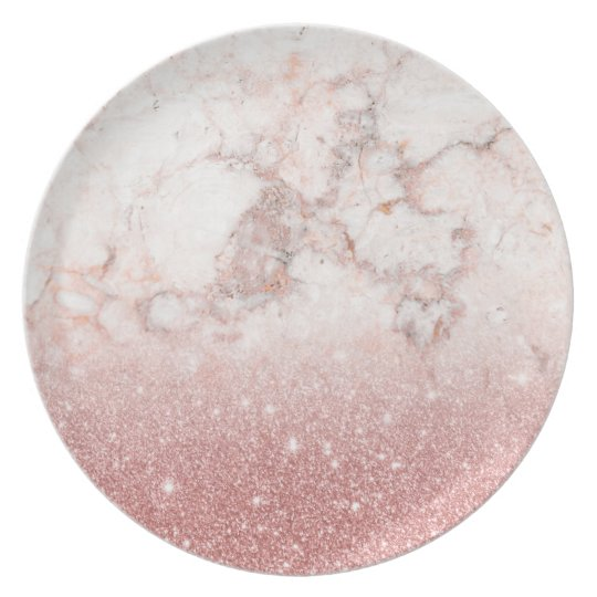 Brilho cor-de-rosa Ombre de mármore branco do ouro Prato